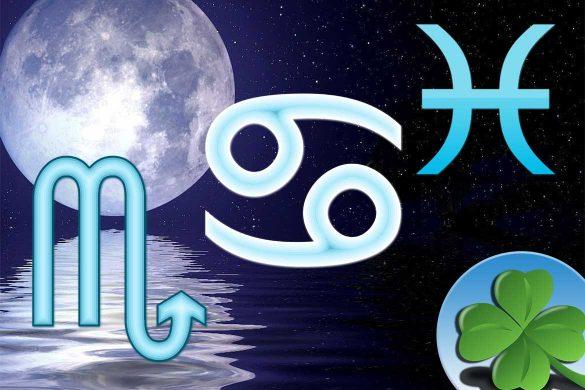 zodii apa protejate 585x390 - ASTROLOGIE: Zodiile de Apă Rac, Scorpion și Pești - Protejatele astrelor în această perioadă!